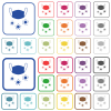 Medical mask and corona viruses outlined flat color icons - Medical mask and corona viruses color flat icons in rounded square frames. Thin and thick versions included.
