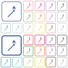 Matchstick outlined flat color icons - Matchstick color flat icons in rounded square frames. Thin and thick versions included.