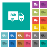 24 hour delivery truck square flat multi colored icons - 24 hour delivery truck multi colored flat icons on plain square backgrounds. Included white and darker icon variations for hover or active effects.