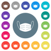 Medical face mask flat white icons on round color backgrounds. 17 background color variations are included. - Medical face mask flat white icons on round color backgrounds