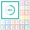 50 percent loaded flat color icons with quadrant frames on white background - 50 percent loaded flat color icons with quadrant frames