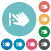 Right handed scroll down gesture flat white icons on round color backgrounds - Right handed scroll down gesture flat round icons