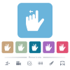 Left handed move left gesture flat icons on color rounded square backgrounds - Left handed move left gesture white flat icons on color rounded square backgrounds. 6 bonus icons included