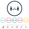 Social distancing 2 meters flat color icons in round outlines - Social distancing 2 meters flat color icons in round outlines. 6 bonus icons included.