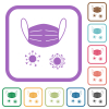 Medical mask and corona viruses simple icons - Medical mask and corona viruses simple icons in color rounded square frames on white background