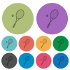 Tennis racket with ball darker flat icons on color round background - Tennis racket with ball color darker flat icons