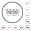 Roulette table flat icons with outlines - Roulette table flat color icons in round outlines on white background