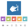 Left handed scroll up gesture flat white icons in square backgrounds - Left handed scroll up gesture flat white icons in square backgrounds. 6 bonus icons included.