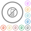 Cellphone not allowed flat icons with outlines - Cellphone not allowed flat color icons in round outlines on white background