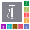 Air pump flat icons on simple color square backgrounds - Air pump square flat icons