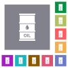 Oil barrel square flat icons - Oil barrel flat icons on simple color square backgrounds