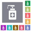 Hand sanitizer square flat icons - Hand sanitizer flat icons on simple color square backgrounds