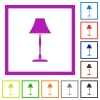 Standing lampshade flat color icons in square frames on white background - Standing lampshade flat framed icons