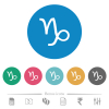 Capricorn zodiac symbol flat round icons - Capricorn zodiac symbol flat white icons on round color backgrounds. 6 bonus icons included.