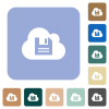 Cloud storage rounded square flat icons - Cloud storage white flat icons on color rounded square backgrounds