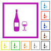 Wine bottle and glass flat framed icons - Wine bottle and glass flat color icons in square frames on white background