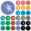 Tennis player multi colored flat icons on round backgrounds. Included white, light and dark icon variations for hover and active status effects, and bonus shades. - Tennis player round flat multi colored icons