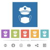 Police hat and medical face mask flat white icons in square backgrounds. 6 bonus icons included. - Police hat and medical face mask flat white icons in square backgrounds
