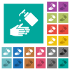 Hand washing with liquid soap square flat multi colored icons - Hand washing with liquid soap multi colored flat icons on plain square backgrounds. Included white and darker icon variations for hover or active effects.