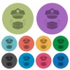 Police hat and medical face mask darker flat icons on color round background - Police hat and medical face mask color darker flat icons