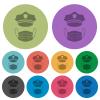 Police hat and medical face mask color darker flat icons - Police hat and medical face mask darker flat icons on color round background