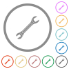 Single wrench flat color icons in round outlines on white background - Single wrench flat icons with outlines