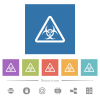 Biohazard warning flat white icons in square backgrounds - Biohazard warning flat white icons in square backgrounds. 6 bonus icons included.