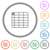 Spreadsheet table flat color icons in round outlines on white background - Spreadsheet table flat icons with outlines