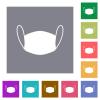 Medical face mask square flat icons - Medical face mask flat icons on simple color square backgrounds