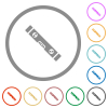 Spirit level flat color icons in round outlines on white background - Spirit level flat icons with outlines