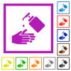 Hand washing with liquid soap flat framed icons - Hand washing with liquid soap flat color icons in square frames on white background