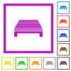 Single pallet flat framed icons - Single pallet flat color icons in square frames on white background