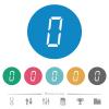 digital number zero of seven segment type flat round icons - digital number zero of seven segment type flat white icons on round color backgrounds. 6 bonus icons included.