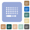 Set of screwdriver bits rounded square flat icons - Set of screwdriver bits white flat icons on color rounded square backgrounds