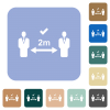 Correct social distancing rounded square flat icons - Correct social distancing white flat icons on color rounded square backgrounds