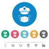 Police hat and medical face mask flat white icons on round color backgrounds. 6 bonus icons included. - Police hat and medical face mask flat round icons