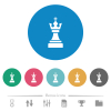 Black chess king flat round icons - Black chess king flat white icons on round color backgrounds. 6 bonus icons included.