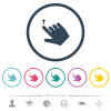 Right handed move up gesture flat color icons in round outlines - Right handed move up gesture flat color icons in round outlines. 6 bonus icons included.