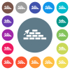 Brick wall and trowel flat white icons on round color backgrounds - Brick wall and trowel flat white icons on round color backgrounds. 17 background color variations are included.