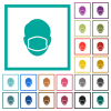 Face with medical mask flat color icons with quadrant frames - Face with medical mask flat color icons with quadrant frames on white background