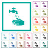 Hand washing flat color icons with quadrant frames - Hand washing flat color icons with quadrant frames on white background