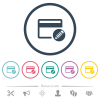 Edit credit card flat color icons in round outlines - Edit credit card flat color icons in round outlines. 6 bonus icons included.