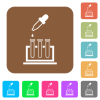 Chemical experiment rounded square flat icons - Chemical experiment flat icons on rounded square vivid color backgrounds.