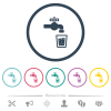 Drinking water flat color icons in round outlines - Drinking water flat color icons in round outlines. 6 bonus icons included.