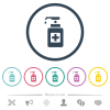 Hand sanitizer flat color icons in round outlines - Hand sanitizer flat color icons in round outlines. 6 bonus icons included.