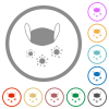 Medical mask and corona viruses flat icons with outlines - Medical mask and corona viruses flat color icons in round outlines on white background