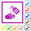 Hand washing with hand sanitizer flat framed icons - Hand washing with hand sanitizer flat color icons in square frames on white background
