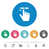 right handed scroll left gesture flat round icons - right handed scroll left gesture flat white icons on round color backgrounds. 6 bonus icons included.