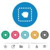 Drag item flat round icons - Drag item flat white icons on round color backgrounds. 6 bonus icons included.