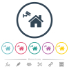 Home security flat color icons in round outlines - Home security flat color icons in round outlines. 6 bonus icons included.